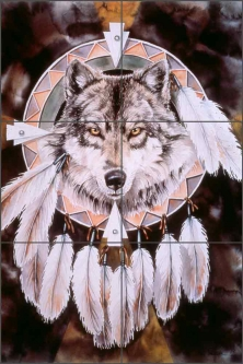 Spirit of the Wolf by Jan Taylor Ceramic Tile Mural JTA026
