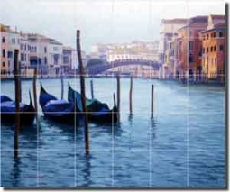 "White Venice Grand Canal Ceramic Tile Mural 25.5"" x 21.25"" - JWA006"