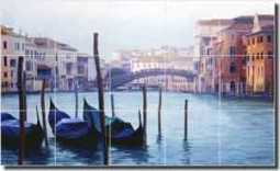 "White Venice Grand Canal Ceramic Tile Mural 30"" x 18"" - JWA006"