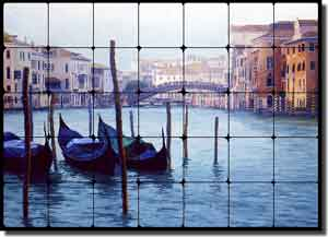 "White Venice Grand Canal Tumbled Marble Tile Mural 28"" x 20"" - JWA006"