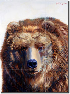 "Grizzly Bear by Jack White - Animal Ceramic Tile Mural 17"" x 12.75"""