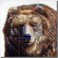"White Grizzly Bear Floor Tile Mural 24"" x 24"" - 8"" - JWA007"