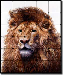 "White Lion Animal Tumbled Marble Mural 20"" x 24"" - JWA010"