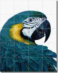 "White Macaw Bird Glass Tile Mural 24"" x 30"" - JWA011"
