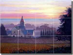 "White Landscape Church Ceramic Tile Mural 24"" x 18"" - JWA013"
