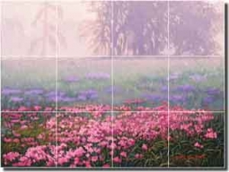 "White Floral Landscape Glass Wall & Floor Tile Mural 24"" x 18"" - JWA020"