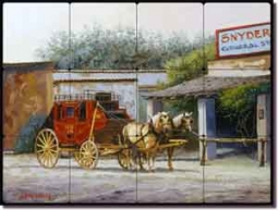 "White Western Stagecoach Tumbled Marble Tile Mural 16"" x 12"" - JWA027"