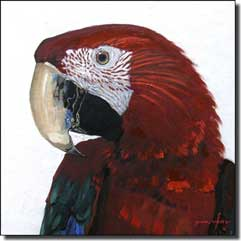 "White Parrot Bird Ceramic Accent Tile 6"" x 6"" - JWA031AT"