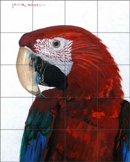 Red Parrot by Jack White Ceramic Tile Mural
