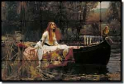 "Waterhouse Lady of Shallot Tumbled Marble Tile Mural 36"" x 24"" - JWW001"