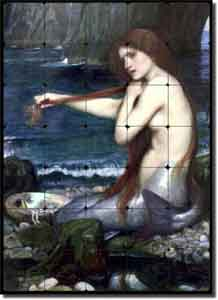 "Waterhouse Old World Mermaid Tumbled Marble Tile Mural 20"" x 28"" - JWW002"