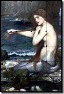 "Waterhouse Old World Mermaid Tumbled Marble Tile Mural 24"" x 36"" - JWW002"