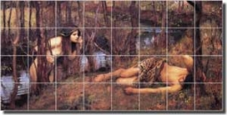 "Waterhouse Old World Nymph Ceramic Tile Mural 34"" x 17"" - JWW053"