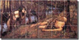 "Waterhouse Old World Nymph Ceramic Tile Mural 36"" x 18"" - JWW053"
