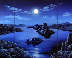 Blue Moon Vista by Kurt Burmann Ceramic Tile Mural - KB002