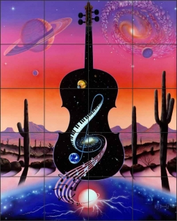 Music Tunes the Cosmos by Kurt Burmann Ceramic Tile Mural - KB003