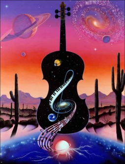 Music Tunes the Cosmos by Kurt Burmann Ceramic Accent & Decor Tile - KB003AT