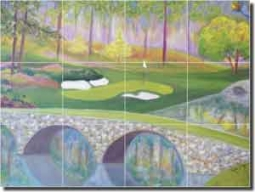 "Lee Golf Augusta Ceramic Tile Mural 24"" x 18"" - KLA016"