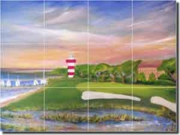"Lee Golf Hilton Head Ceramic Tile Mural 24"" x 18"" - KLA017"