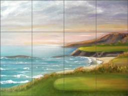 Golf - Pacific Coastal by Karen J Lee Ceramic Tile Mural