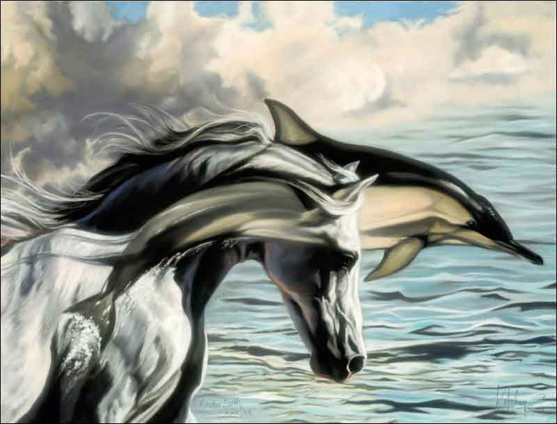 McElroy Horse Equine Dolphin Ceramic Accent & Decor Tile - KMA002AT
