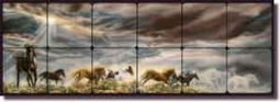 "McElroy Horses Equine Art Tumbled Marble Tile Mural 36"" x 12"" - 6"" - KMA007"