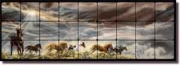 "McElroy Horses Equine Art Tumbled Marble Tile Mural 36"" x 12"" - KMA007"