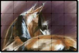 "McElroy Horse Equine Tumbled Marble Mural 24"" x 16"" - KMA008"