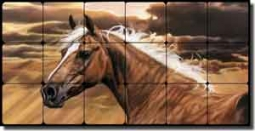 "McElroy Horse Equine Tumbled Marble Mural 24"" x 12"" - KMA011"