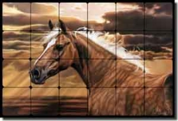 "McElroy Horse Equine Tumbled Marble Mural 24"" x 16"" - KMA011"