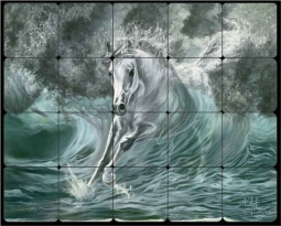 "McElroy Poseidon's Gift Horse Tumbled Marble Tile Mural 20"" x 16"" - KMA012"