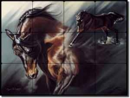 "McElroy Horse Equine Tumbled Marble Mural 24"" x 18"" - KMA015"