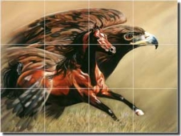 "McElroy Horse Bird Glass Tile Mural 24"" x 18"" - KMA016"