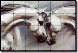 "McElroy Arabian Horse Equine Tumbled Marble Tile Mural 24"" x 16"" - KMA026"