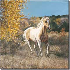 "McElroy Paint Horse Equine Ceramic Accent Tile 4.25"" x 4.25"" - KMA039AT"