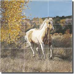 "McElroy Paint Horse Equine Ceramic Tile Mural 18"" x 18"" - KMA039"