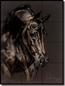 "McElroy Horse Equine Tumbled Marble Tile Mural 12"" x 16"" - KMA040"