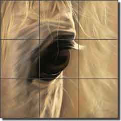 "McElroy Horse Equine Glass Tile Mural 18"" x 18"" - KMA048"