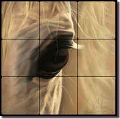 "McElroy Horse Equine Tumbled Marble Tile Mural 18"" x 18"" - KMA048"