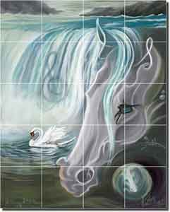 "A Song of Stillness by Kim McElroy - Horse Ceramic Tile Mural 17"" x 21.25"""