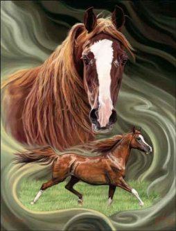 McElroy Horses Equine Art Ceramic Accent & Decor Tile KMA056AT
