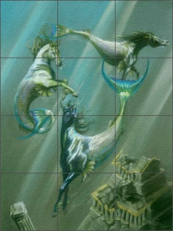 "The Guardians by Kim McElroy Glass Wall & Floor Tile Mural 18"" x 24"" - KMA058"