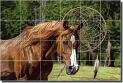 "McElroy Horse Equine Glass Tile Mural 36"" x 24"" - KMA060"