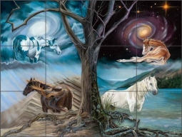 Horses of the Four Elements by Kim McElroy Ceramic Tile Mural - KMA074