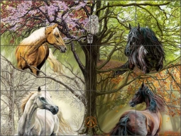 Horses of the Four Seasons by Kim McElroy Ceramic Tile Mural - KMA075