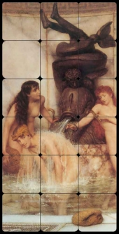 Strigils and Sponges by Sir Lawrence Alma-Tadema Tumbled Marble Tile Mural - LAT025