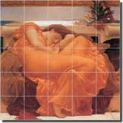 "Leighton Old World Ceramic Tile Mural 21.25"" x 21.25 "" - LFL005"