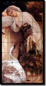 "Odalisque by Lord Frederick Leighton - Bird Tumbled Marble Mural 16"" x 32"""