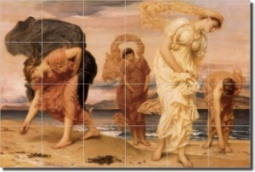 Greek Girls Picking Up Pebbles by the Sea by Lord Frederick Leighton - Artwork On Tile Tumbled Marbl