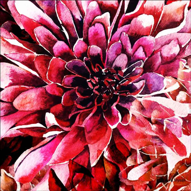 Chrysanthemums by Laura Mysak Ceramic Accent & Decor Tile - LM2-007AT